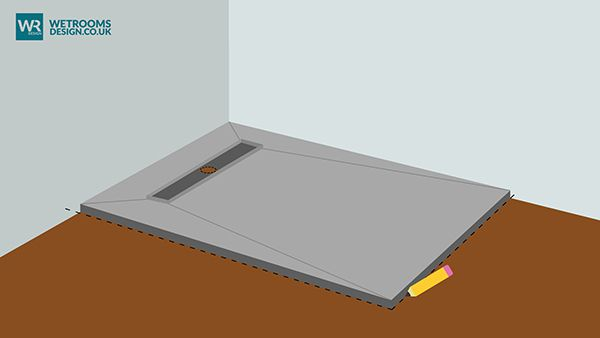 make sure shower tray is sits tightly in the corner use pencil to draw perimeter around board and inside to drain outlet to mark the position of the tray