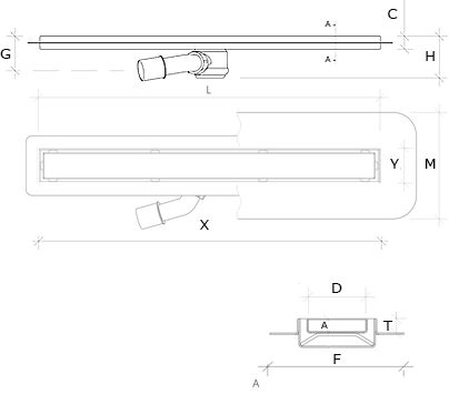 Linear drain technical drawing